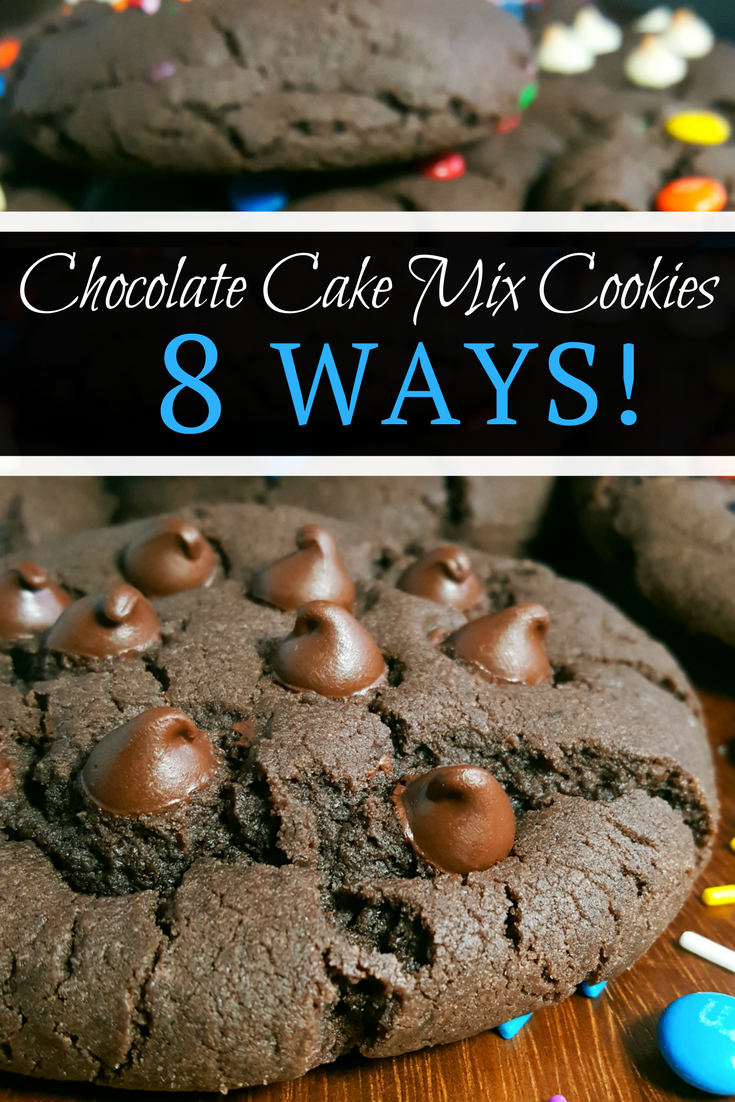 Chocolate Cake Mix Cookies - Big, bakery style cookies made with melted butter. Easy recipe, only 4 ingredients. Addchocolate chips, m&m's, Rolos, and more!