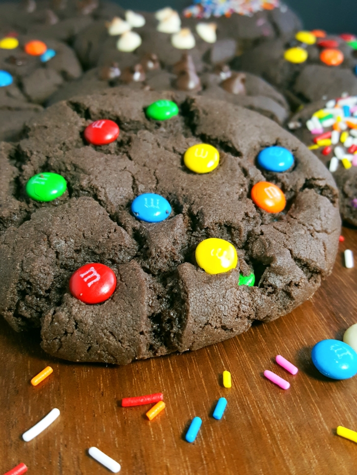 Chocolate Cake Mix Cookies - 4 ingredient recipe for soft and chewy chocolate cookies. Add m&m's, chocolate chips, sprinkles, rolos and more!