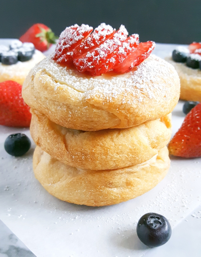 Easy Cream Cheese Danish Pastries - I can't believe that these Cream Cheese Danishes are made with store-bought crescent roll dough! They look and taste like they're from a bakery. I made these for breakfast and my family was so impressed.