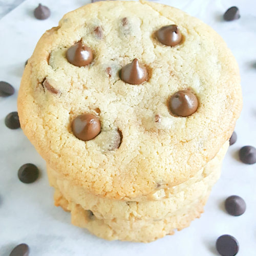 Soft Cream Cheese Chocolate Chip Cookies - The Best homemade Chocolate Chip Cookies with Cream Cheese and no eggs. The dough is edible and the baked cookies are soft, slightly crisp, and dangerously delicious.