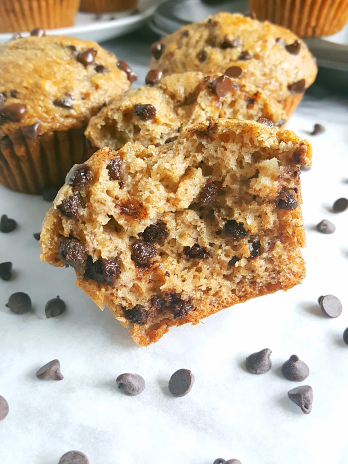 Healthy Greek Yogurt Chocolate Chip Banana Muffins -No butter, sugar, or oil. Moist, low fat, full of fiber, and the greek yogurt adds protein. Made with whole wheat flour, naturally sweetened and studded with chocolate chips for a little indulgence.