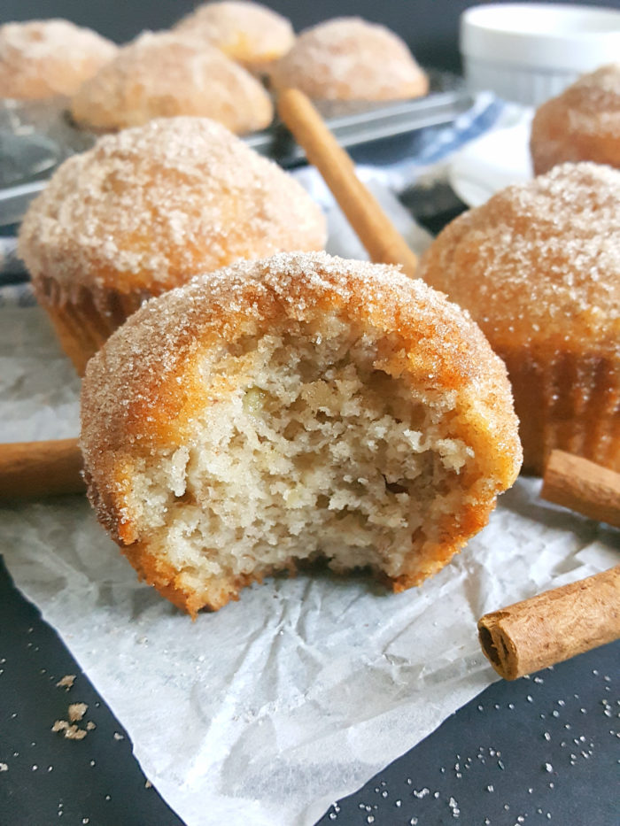 The Best Cinnamon Sugar Banana Bread Muffins - Moist Banana Muffins topped with cinnamon sugar and bursting with banana bread flavor. They're the most perfect easy Breakfast!