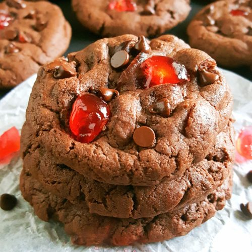 Double Chocolate Chip Cake Mix Cherry Cookies - Soft fudge double chocolate chip cookies studded with sweet maraschino cherries. They're so easy to make and ready in less than 30 minutes!