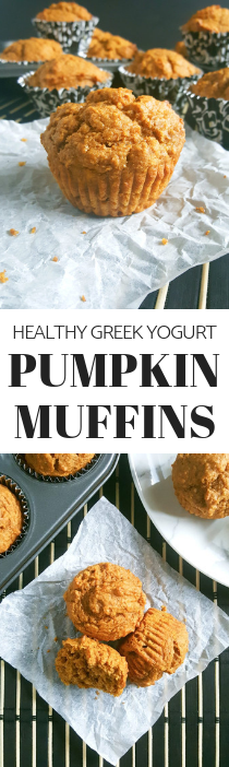 Healthy Greek Yogurt Pumpkin Muffins - Soft, moist whole wheat pumpkin muffins made with pumpkin puree and perfect for a Fall breakfast.