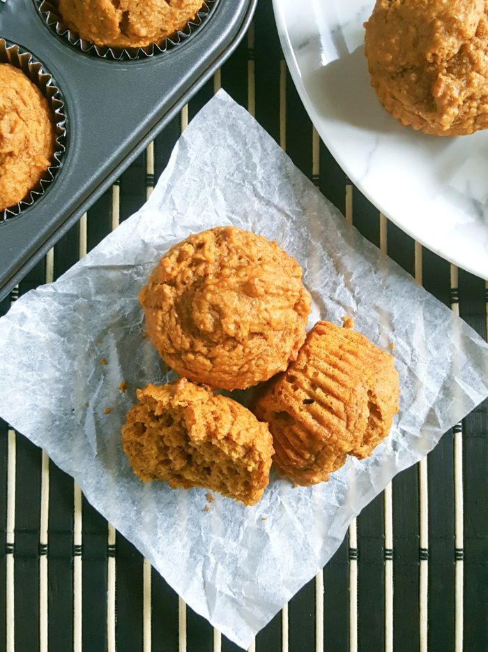 Healthy Greek Yogurt Pumpkin Muffins - Soft, moist whole wheat pumpkin muffins made with pumpkin puree. Perfect for a Fall breakfast.