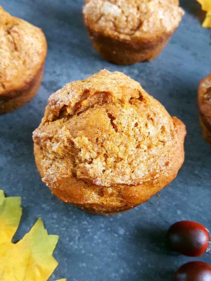 Brown Sugar Pumpkin Muffins -Easy 30-minute recipe for moist pumpkin muffins made with brown sugar, canned pumpkin puree, and spiced with cinnamon and nutmeg. | Beat Bake Eat
