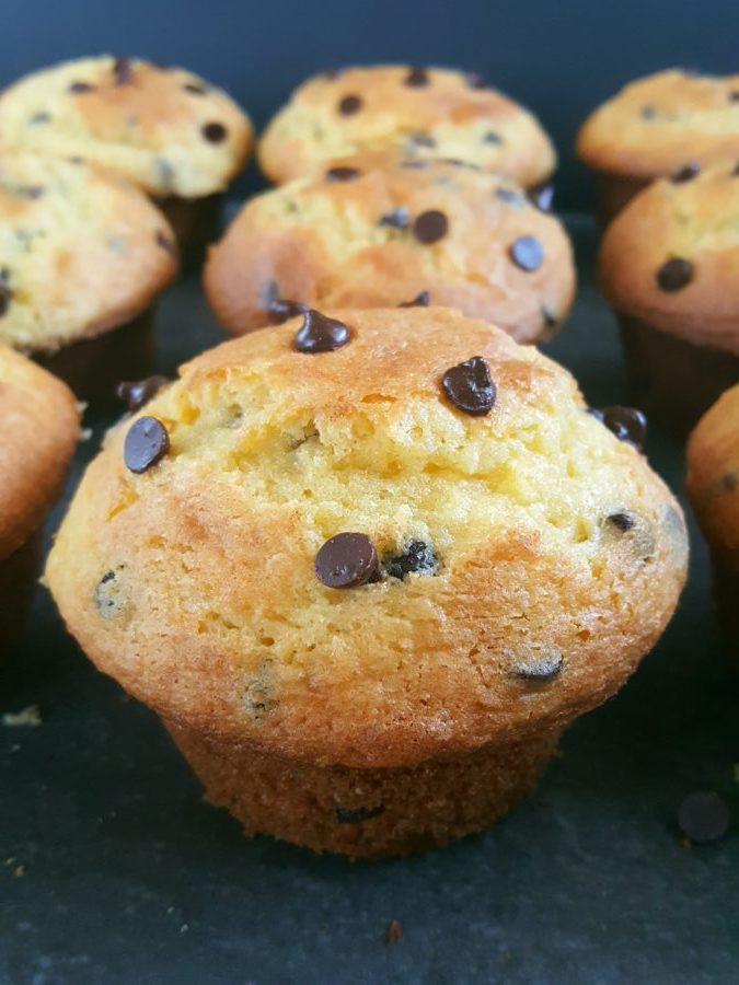 Cake Mix Chocolate Chip Muffins - Easy chocolate chip muffins made with yellow cake mix. Moist bakery style muffins, only 5 ingredients and ready in less than 30 minutes. | Beat Bake Eat