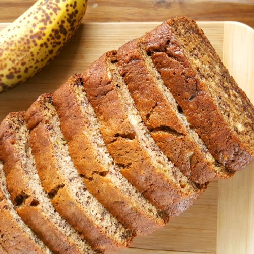 Banana Bread Recipe with 3 Bananas - Simple & easy recipe for moist banana bread made with 3 bananas and oil. Dairy-free, no mixer, one bowl, 8 minutes prep. | Beat Bake Eat