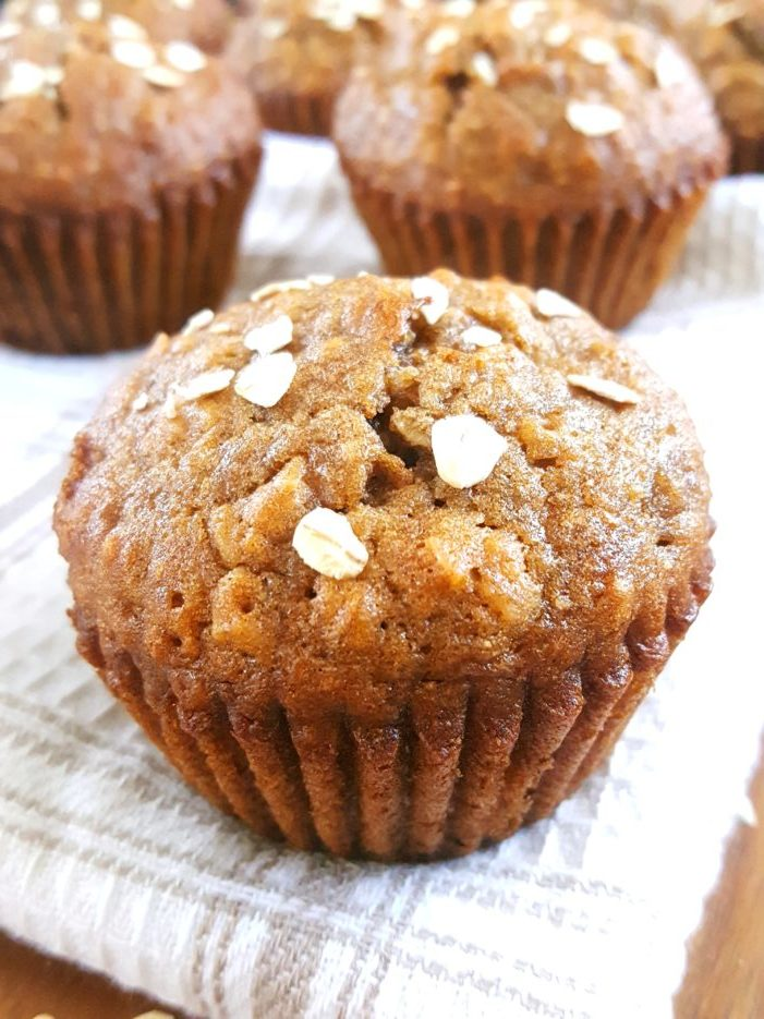 Healthy Oatmeal Banana Muffins - Moist dairy-free oatmeal banana muffins made with quick oats & whole wheat flour. Easy to make & perfect for a clean-eating breakfast! | Beat Bake Eat