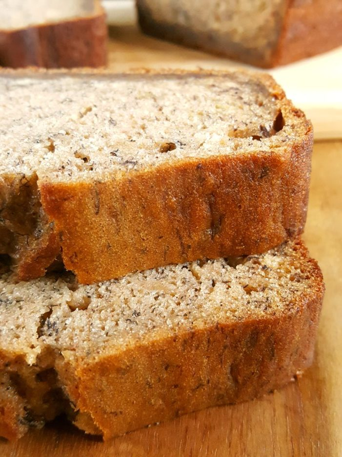 Banana Bread Recipe for 4 Bananas - Easy one bowl recipe for moist homemade banana bread with oil. Simple, quick, and dairy-free.   Beat Bake Eat