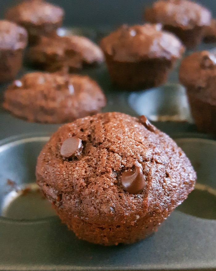 Mini Double Chocolate Chip Brownie Muffins - Easy recipe for moist double chocolate chip muffins in mini form. Made with butter, brown sugar, cocoa powder & no sour cream. No mixer required and ready in 25 minutes! | Beat Bake Eat