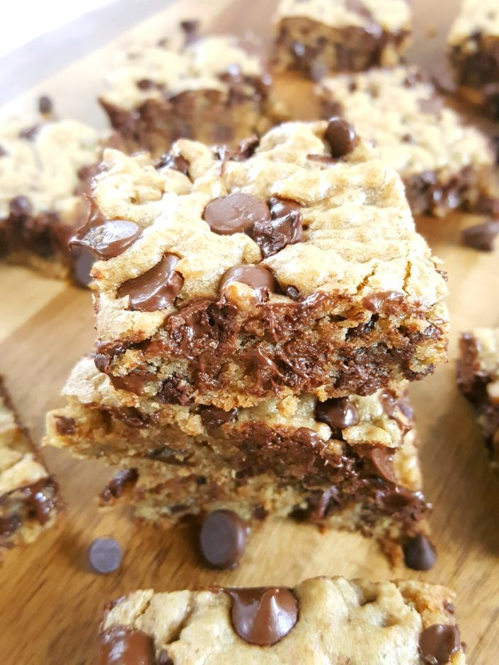 Whole Wheat Chocolate Chip Cookie Blondies - Simple & easy recipe for a small batch of the best chewy blond brownies made with vanilla & brown sugar. They're gooey, fudgy, & decadent. | Beat Bake Eat