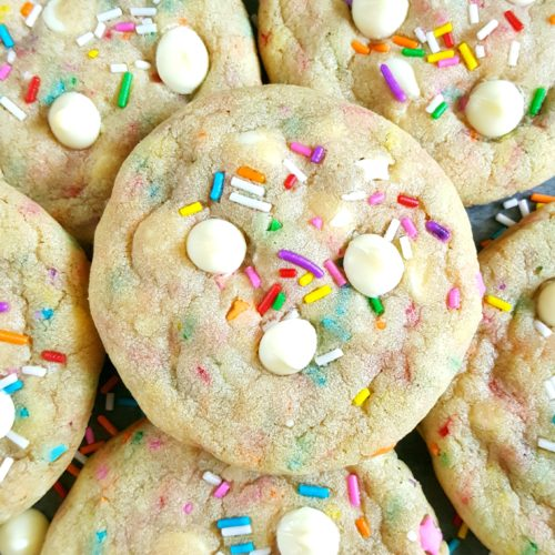 Chewy Birthday Cake Cookies - Easy to make & so simple; These chewy white chocolate chip cookies decorated with sprinkles are perfect for celebrating. | Beat Bake Eat
