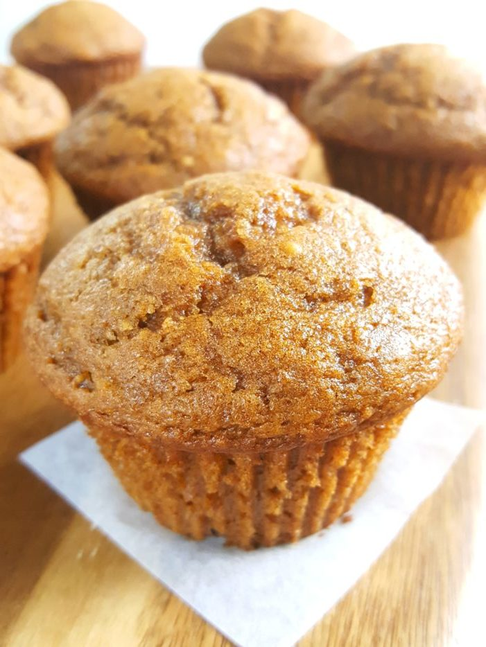 Pumpkin Applesauce Muffins - Moist pumpkin apple muffins made with oil, brown sugar, and no dairy. Easy to make, ready in 30 minutes, and perfect for a Fall breakfast for snack!   Beat Bake Eat