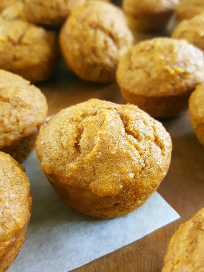 Mini Healthy Pumpkin Muffins for Kids! - Moist, dairy-free mini pumpkin muffins made with oil, whole wheat flour, brown sugar, & natural sweetener. Easy to make, healthy & delicious, & the perfect size for little hands. | Beat Bake Eat