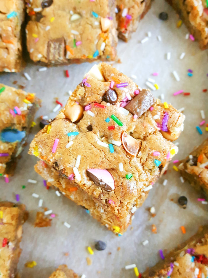Cookie Bar Base Recipe - The best recipe for soft & chewy, gooey cookie bars. Simple, easy to make, & perfect for adding chocolate chips, M&M's, or your favorite candy bars! | Beat Bake Eat