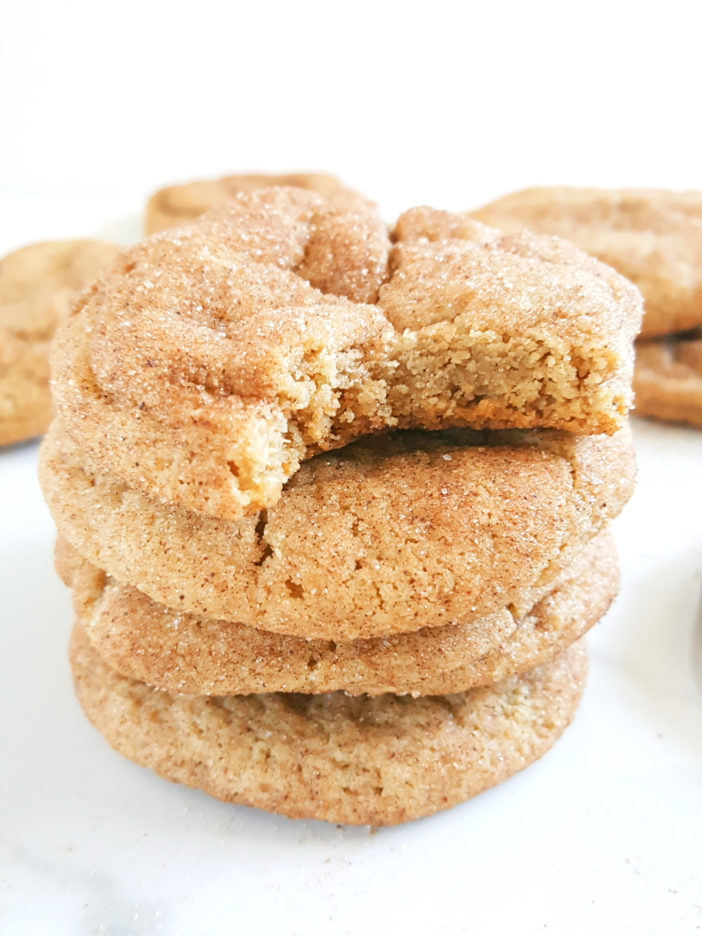 Chewy Cream Cheese Snickerdoodles - These egg free cinnamon cream cheese cookies are pleasantly chewy and so easy to make. This is a no chill recipe without cream of tartar. | Beat Bake Eat