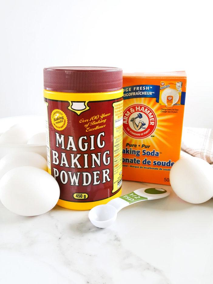 Ingredients That Make Muffins Rise - Baking Soda, Baking Powder, and Eggs.