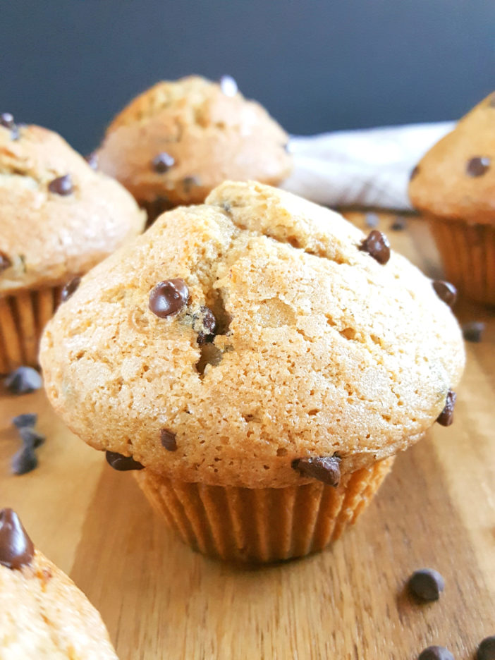 Homemade Bakery Style Sour Cream Chocolate Chip Muffins made with Brown Sugar - Simple & easy recipe, one bowl, quick, no buttermilk, lots of vanilla. The best soft, fluffy, & moist jumbo muffins from scratch. | Beat Bake Eat