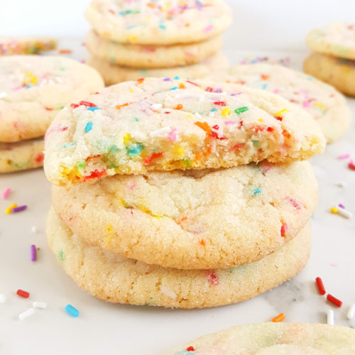 Chewy Powdered Sugar Cookies with Sprinkles - An easy dessert recipe to make for the holidays or anytime of the year! | Beat Bake Eat