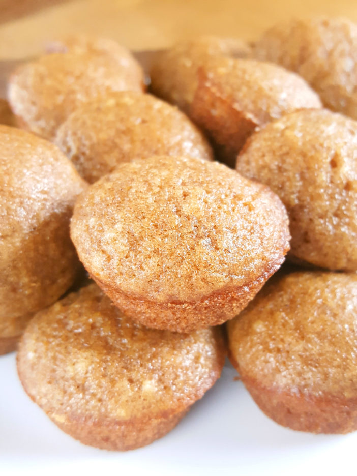 Mini Applesauce Muffins - Moist bite-sized cinnamon applesauce muffins made with oil, lightly sweetened, and dairy-free. An easy recipe with simple ingredients that kids and toddlers love!   Beat Bake Eat