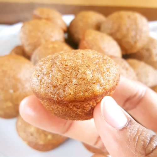 Mini Applesauce Muffins - Moist bite-sized cinnamon applesauce muffins made with oil, lightly sweetened, and dairy-free. An easy recipe with simple ingredients that kids and toddlers love! | Beat Bake Eat
