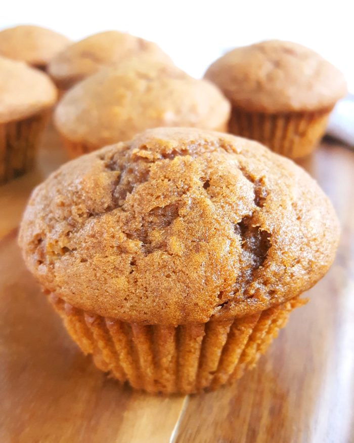 Basic Pumpkin Muffin Recipe - Easy, simple ingredients, dairy-free, one bowl, no mixer needed. These moist, soft, & fluffy pumpkin muffins are the best I've ever had! | Beat Bake Eat