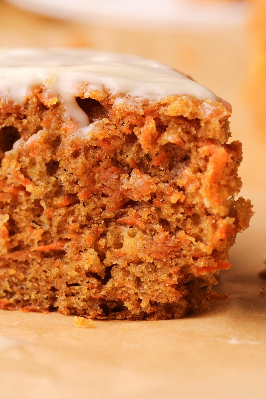 Single layer sour cream carrot breakfast cake with cream cheese glaze.   Beat Bake Eat