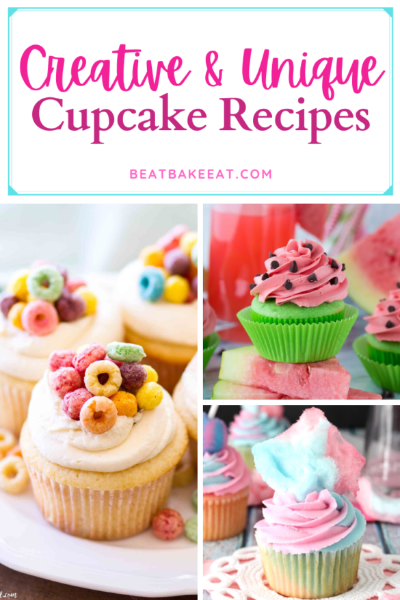 A list of creative and unique cupcake recipes. Tired of making vanilla or chocolate cupcakes? Time to try something different! | Beat Bake Eat
