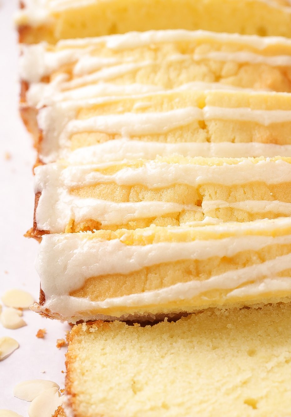 A luscious Almond Pound Cake made with buttermilk and topped with a dreamy almond glaze. | Beat Bake Eat