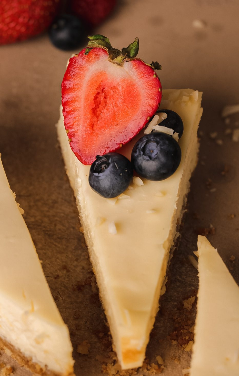 Graham cracker crust almond cheesecake baked in a loaf pan; no mixer and no water bath required!